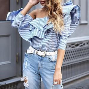 2017 Hot sale spring/summer women fashion slash neck ruffles shirt,Female Trendy long-sleeved blouse that show a shoulder