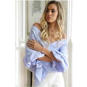 2017 Hot sale Spring/summer fashion trendy women chiffon shirt,Female dew shoulder v-neck cross strap blouse