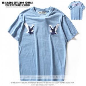 Real New OFF WHITE Tees Top Trend Embroidery Eagle Summer Men/Women Printing Casual Bamboo Cotton Short Sleeve T-shirt Loose