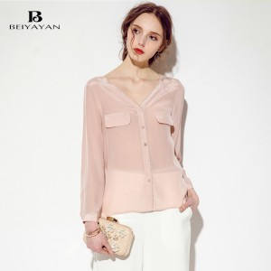 BEIYAYAN Fashion Women Shirts 2017 New Arrival Deep V Neck Trendy See Through Blouses 100% Silk Long Sleeves Buttons Down