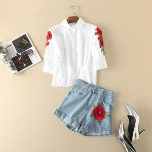 Top Quality Fashion New Short Suits 2017 Summer Casual Women Red Floral Embroidery White Shirt+Blue Denim Short Pants Jeans Sets