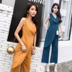 Women Elegant wrap jumpsuit & Rompers 2017 Summer V neck sleeveless Chiffon straight OL overalls Wide legs Office Playsuits