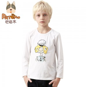 PATEMO t shirt for Boys Long Sleeve Knitted Cotton Fabric White Boys Clothes Spring Summer Children Tees Print Images