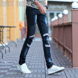 TRUST DREAM Europeans Style Men Spliced Slim Street Jeans Casual Denim Cargo Pants Fashion Ripped Man Biker Jeans