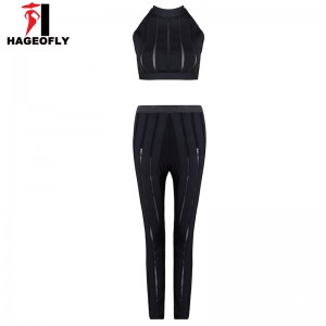 HAGEOFLY 2017 New Women Trendy Bandage Jumpsuits 3 Piece Sets Black O Neck Mesh Hollow Out Patchwork Bodycon Party Jumpsuits Wear