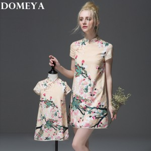 Doemya matching family mother/mom and daughter dresses outfits girl cheongsam dress 2 color China style clothes for mother baby