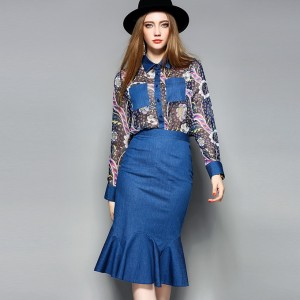 European Designer Set Clothing 2017 Summer Women Print Casual Shirt+Bodycon Mermaid Blue Denim Skirt Trendy Casual Skirt Suits