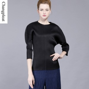 Changpleat T-shirts for women  Fashion design Miyake pleated Black Loose Lantern Sleeve O-neck women's T-shirts Casual Plus Size