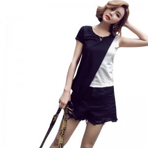 2017 new summer contrast color slim t-shirts women fashion irregular patchwork design Comfortable cotton t-shirts
