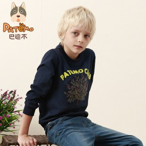 PATEMO Sweatshirt Boys Full Sleeve t shirt Children Clothing Boys Cotton Tees Spring Summer Navy Blue Size 4T,5T,6T,8T,10T