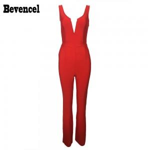 Bevencel 2017 Trendy Bandage Jumpsuit Red Sleeveless Off Shoulder V Neck Backless Elegant Celebrity Women Bandage Party Jumpsuit