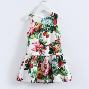 HSSCZL 2017 new girls dresses sleeveless polyester+cotton girl  baby girl dress floral print o-neck baby kids brand high end