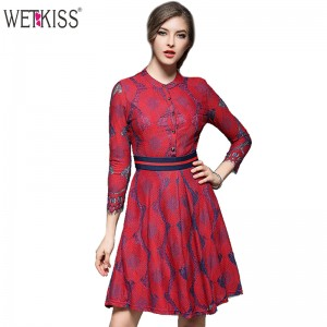 WETKISS Spring Summer Dress for Women Elegant Sleeve Floral Prints Mini Dress Delicate Lace Vestidos Party Prom Women Clothing