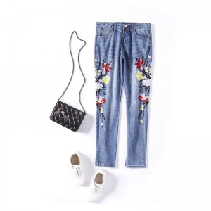 2017 Summer Women Fashion Style Regular Jeans Handed Embroidery Flower Blue High Waist Ankle-Length Jeans Ladies Harem Pants