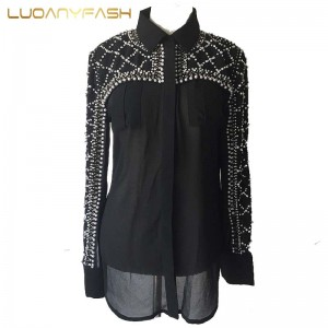 Luoanyfash trendy perspective beading blouse female luxury all match crystal pearls geometric silk shirt European style women