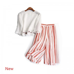 2017 Summer Women Casual Clothing Set Female White Embroidery Linen T-shirt+Striped Wide Leg Pant 2 Piece Costumes Suits Clothes