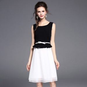 Black & White Mosaic Mesh Lace A-line Dress Women's Chiffon Sleeveless O-Neck Organza Dress for 2017 Summer Lady Dress Gift belt