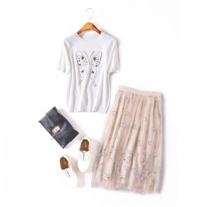2017 Summer Handed Embroidery Sequined Women's Clothing Set Ladies Pink Mesh Skirt+White Butterfly Cotton T- Shirt 2 Piece Sets