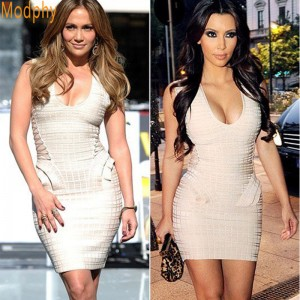 Style Women's Trendy V-Neck Pleated Flocking Bandage Dress Sleeveless Good Stretch Prom Drop Ship HL1419