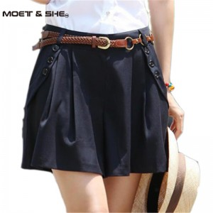 Vintage  Women Summer Wide Leg Casual Skirt Shorts Loose Fit Pleated Shorts Culottes Saia Gift Belt S-XXL Freeshipping